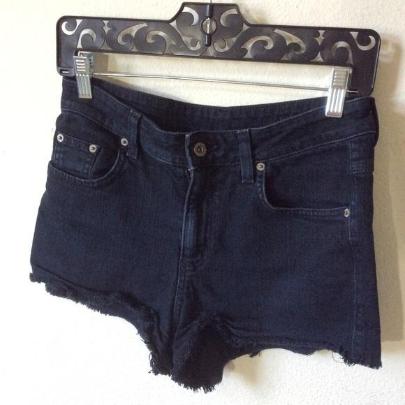 Carmar Pants - CARMAR Black Denim Jean Shorts Raw Edges